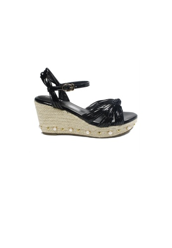 prettyFIT black Black Knotted Pearl Espadrille Wedge Sandals Hq-1735 PR787SH0G6XISG_1
