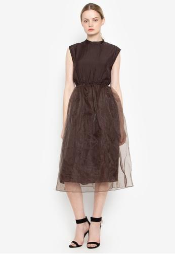 Susto The Label brown Gala Tulle Dress 0F99BAA7FAA1CBGS_1