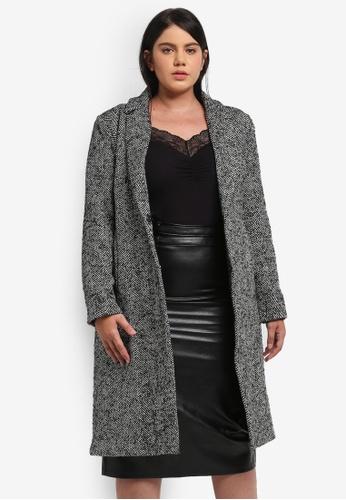 ELVI grey Plus Size Herringbone Tweed Coat EL779AA0T1Q9MY_1