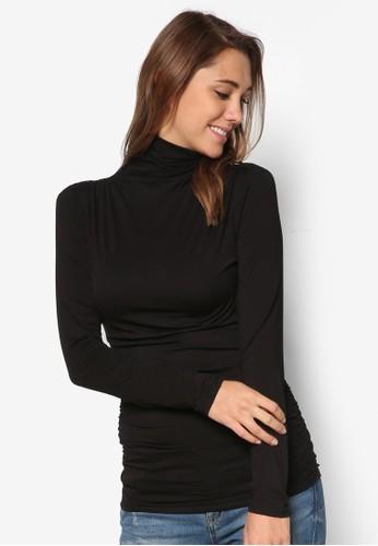 高領抓皺長袖衫, esprit台灣outlet服飾, 外套