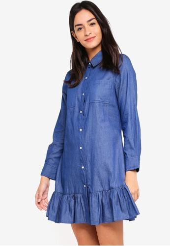 ZALORA blue Ruffles Hem Shirt Dress 1BBA4AA4211553GS_1