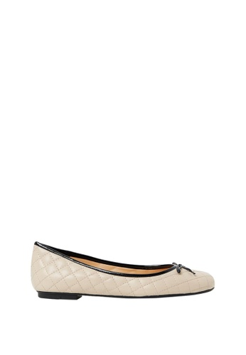Nina Armando black and beige Laura Leather Ballet Flats NI342SH0FV96SG_1