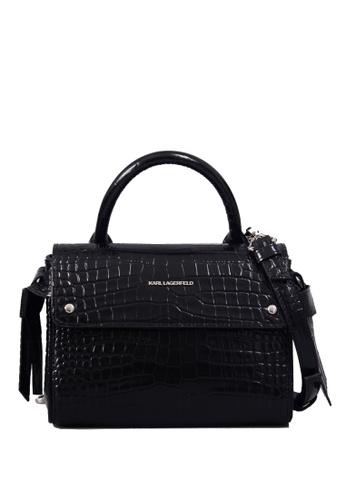 KARL LAGERFELD black K/Ikon Croc Mini Top Handle D326AAC8289275GS_1