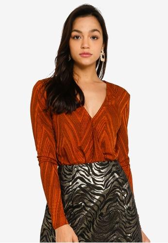 Mink Pink orange Wrap Front Bodysuit 2E639AA02638DAGS_1