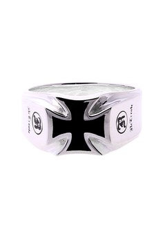 ReCreate Silver Cross Ring Black Epoxy