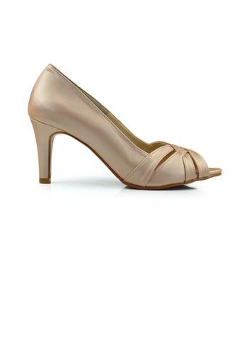 SHINE beige Peep Toe Plateform Heels SH554SH52ZCPSG_1