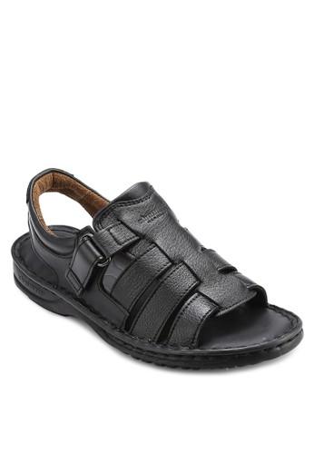 SAMSON 露趾繞esprit outlet 桃園踝皮革涼鞋, 鞋, 鞋