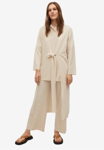 Mango beige Knitted Cardigan With Belt 15DA7AA8928A00GS_1