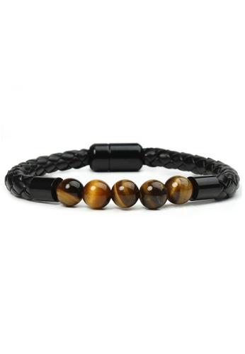 YOUNIQ black YOUNIQ Basic Tiger Eyes Stone Golden Brown Rock Black PU Leather Men Bracelet B6A25ACD660B85GS_1