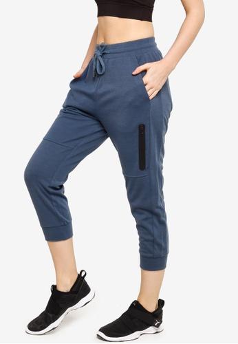 ZALORA ACTIVE 藍色 Side Zip Pocket Capri Jogger Pants 1DEC7AA7468553GS_1