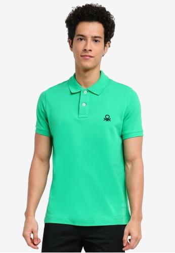 United Colors of Benetton 綠色 基本款Logo Polo衫 324AAAAD637A22GS_1