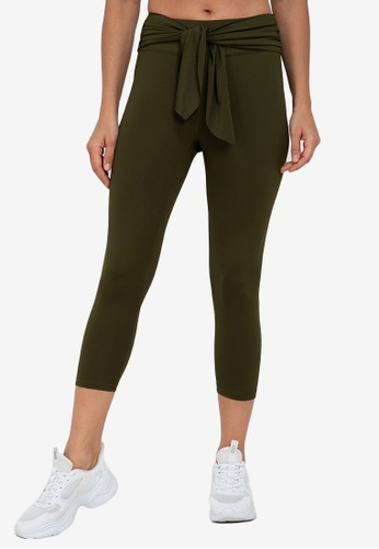 ZALORA ACTIVE green High Rise Knot Front Capri Tights CD95EAA5AF8489GS_1