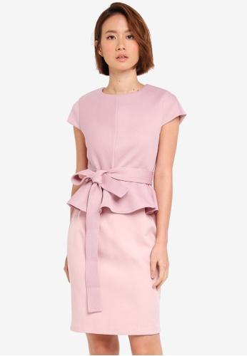ZALORA pink Peplum Dress 12792AADB5A613GS_1