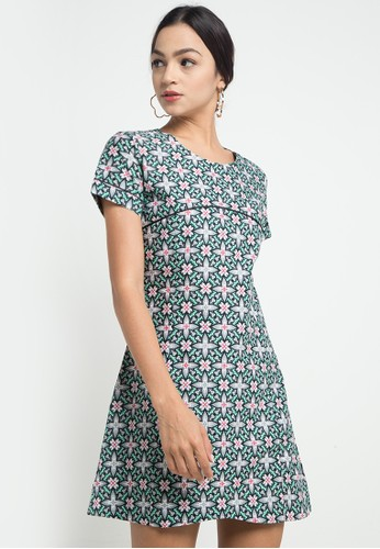Batik Indra Loka green Short Sleeve Dress Kelir 43161AAC97DFE1GS_1