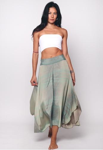 Aanya pink Green Silk Amira Wide Leg Capri 22E64AA29095F4GS_1