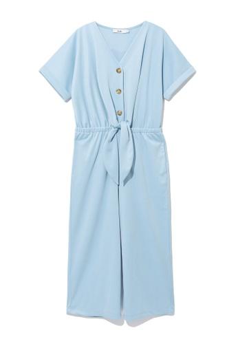 b+ab blue Tie-waist jumpsuit 73057AAD6C78B3GS_1