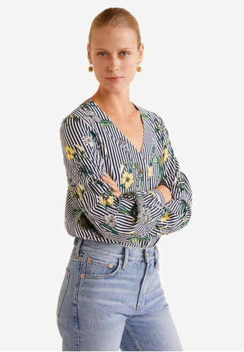 Mango multi and navy Floral Print Blouse 81DDFAA4835F0FGS_1