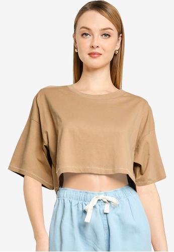 Cotton On brown Cropped Boyfriend Tee 90B03AAE55F902GS_1