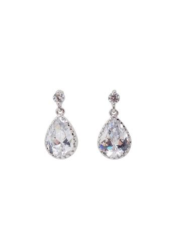 Jaysa Collection silver Teardrop Glittery Crystal Earrings JA875AC0FVGOSG_1