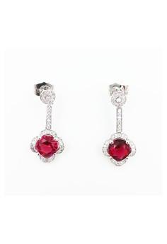 Magenta Flower Stone Stud Earrings