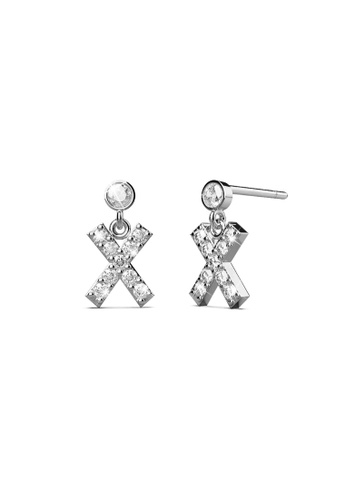 925 Signature gold 925 SIGNATURE Solid 925 Sterling Silver Initial Crystal Personalised Alphabet Letter Earrings - X 740E1AC947AB76GS_1