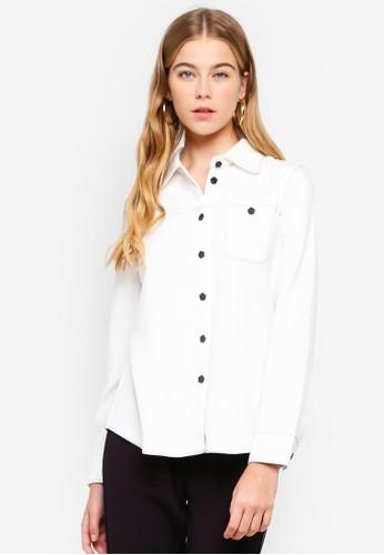 ESPRIT white Contrast Long Sleeve Shirt BA0B8AAD598D2EGS_1