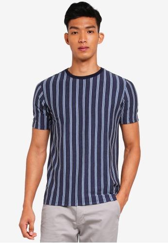 UniqTee 海軍藍色 短袖條紋T恤 7CB3AAA14DFBD4GS_1