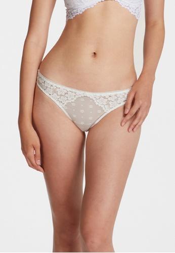 6IXTY8IGHT white SATTO SOLID, Lace & Daisy Mesh Micro Bikini Briefs PT10209 A159AUS526236CGS_1