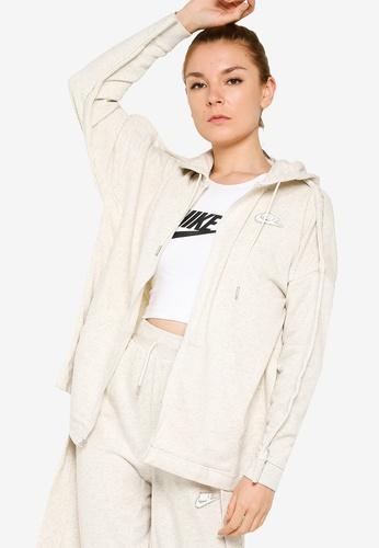 Nike beige Earth Day Ft Full-Zip Hoodie B42F2AA507C769GS_1