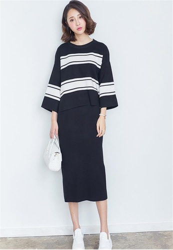 7512b613a1 Crystal Korea Fashion black New winter striped two-piece dress  CR681AA00EYHHK 1