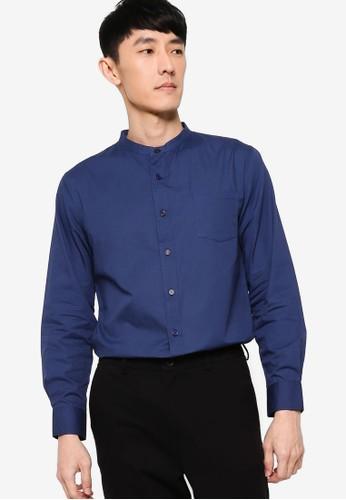 ZALORA BASICS navy Stand Collar Shirt C3B68AA7F50758GS_1