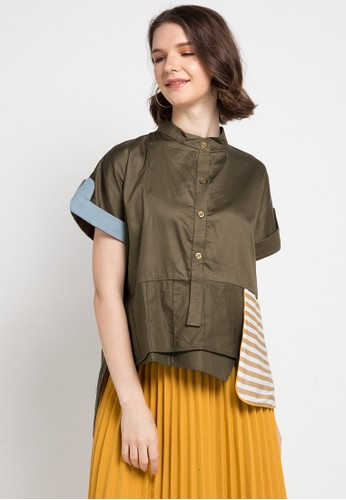 Oline Workrobe green and multi Simple Crop Shirt 987A2AA076B37FGS_1