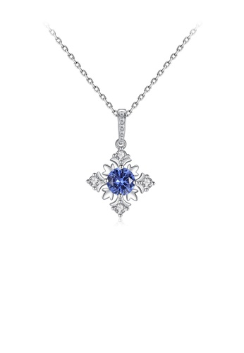 Glamorousky white 925 Sterling Silver Fashion and Elegant Snowflake Pendant with Blue Cubic Zirconia and Necklace 35162AC41FE543GS_1