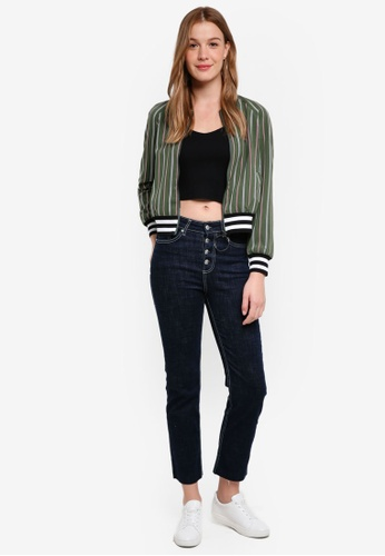 The Fifth Label green Axial Stripe Bomber Jacket 93CADAA8E54822GS_1