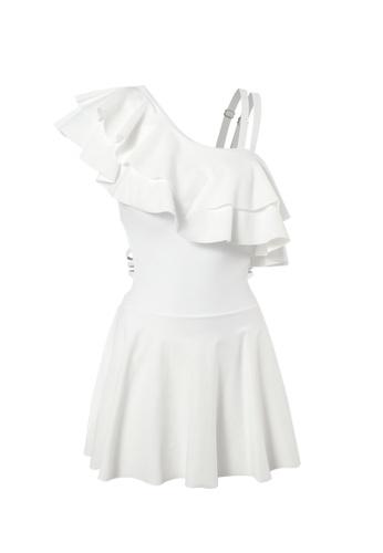 YG Fitness white One-Shoulder Ruffled One-Piece Swimsuit 27842USB03ED0FGS_1