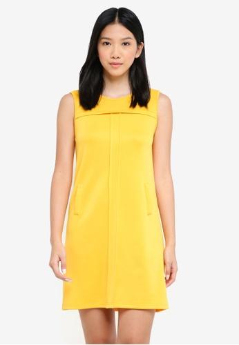 ZALORA BASICS yellow Pleat Detail Shift Dress BF304AA6948AE9GS_1