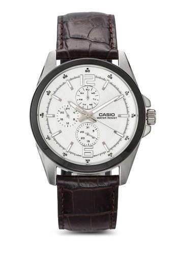標準行針男士esprit 眼鏡皮革手錶, 錶類, 飾品配件