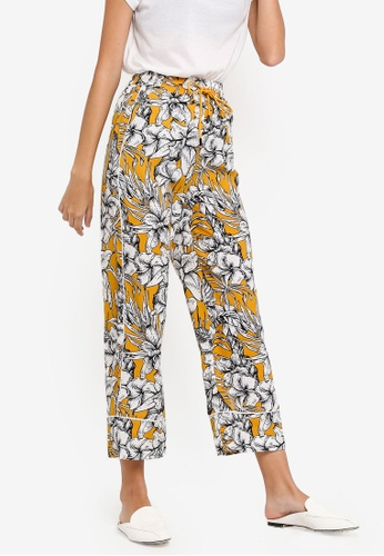 ZALORA yellow and multi Contrast Piping Culottes D015DAA130BD25GS_1