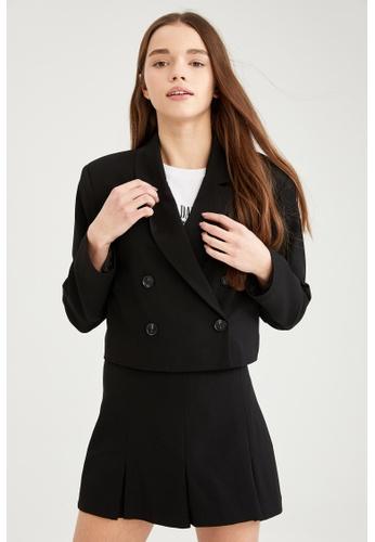 DeFacto black Double Buttoned Crop Blazer 7E5ACAAC41D1ADGS_1