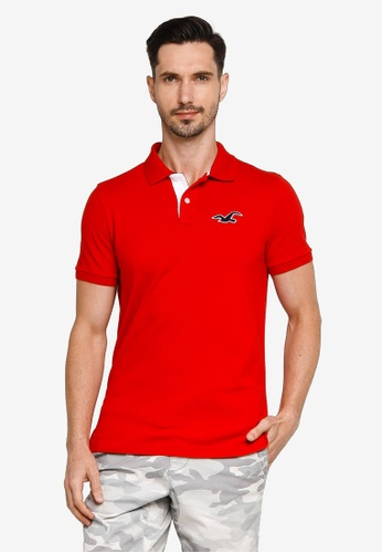 Hollister red Core Exploded Icon Patch Polo Shirt 9C66BAA895F74FGS_1