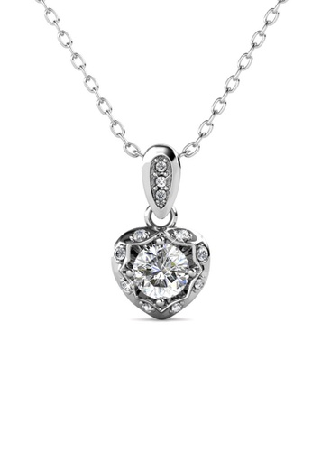 Her Jewellery silver Love Hook Pendant (White Gold) - Made with premium grade crystals from Austria 7271FAC2A583D9GS_1