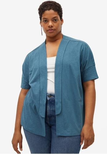 Violeta by MANGO blue Plus Size Organic Cotton Cardigan B6E2BAABAADDC0GS_1