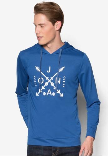品牌尖頭印花連帽長袖衫, 服zalora 評價飾, 運動衫