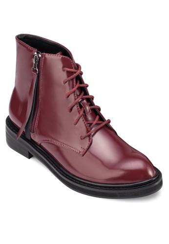 zalora 心得繫帶漆皮高筒靴, 女鞋, 鞋