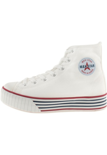 Maxstar 白色 新款韩国鞋C30-7H時尚帆布布混合女白色 US Women Size MA345SH06GWVTW_1