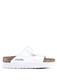 a525e83f5bdc7 Birkenstock white Arizona Platform Birko-Flor Sandals B346CSH0038AB5GS 1