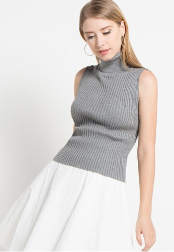 Noir Sur Blanc grey Ladies Turtle Neck Sleeveless NO321AA74VMRID_1