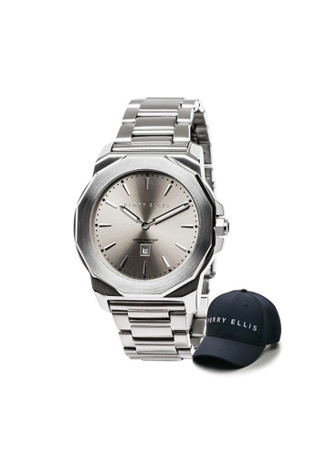 Perry Ellis silver Perry Ellis Decagon Unisex 42mm Quartz Stainless Steel Watch 08003-02 with Perry Ellis Cap D1AECAC66E56FEGS_1