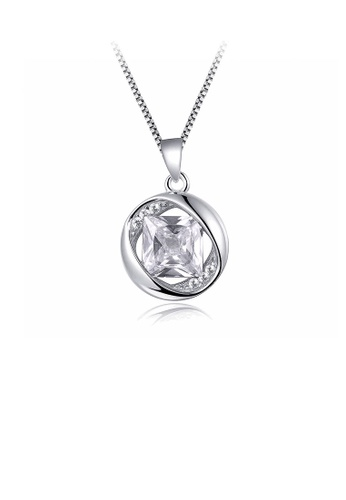Glamorousky white 925 Sterling Silver April Birthday Stone Pendant with White Cubic Zircon and Necklace AD0A2ACFDAA0B5GS_1