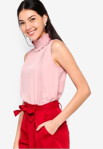 ZALORA pink Ruffles Neck Blouse 52F57AADA12B19GS_1